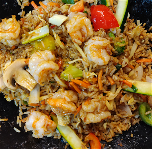 Foto Stirfried rice shrimps